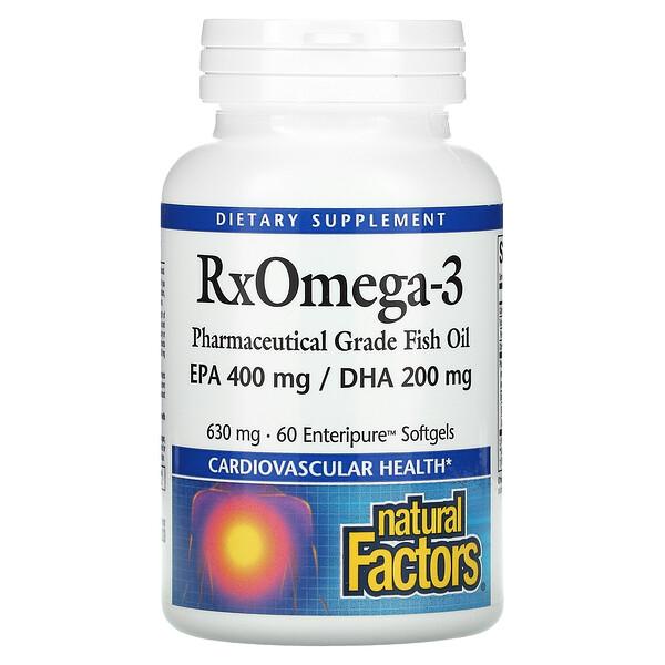 Natural Factors, RxOmega-3, 630 mg, 60 Enteripure Softgels