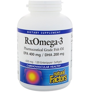 Natural Factors, Rx Omega-3, 630 mg, 120 Enteripure Softgels