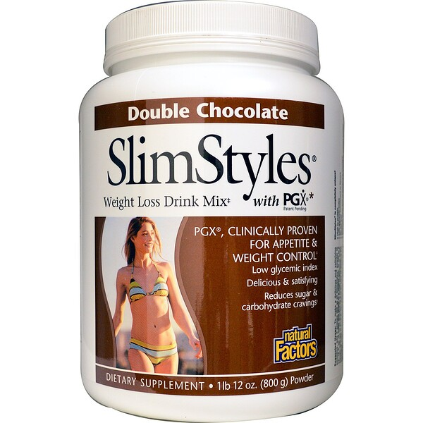 Natural Factors, SlimStyles, Weight Loss Drink Mix, with PGX, Double Chocolate, 1lb 12 oz (800 g) Powder (Discontinued Item)
