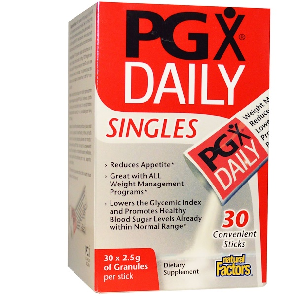 Natural Factors, PGX Daily, Gránulos sin sabor, Individuales, 30 barras, (2.5 g) Each