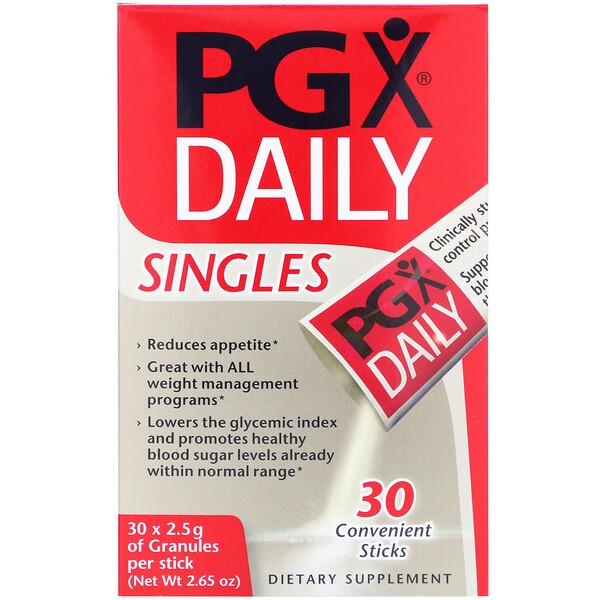 Natural Factors, PGXデイリー、シングルス、味付け無しのパウダー、 30 本、各2.5 g