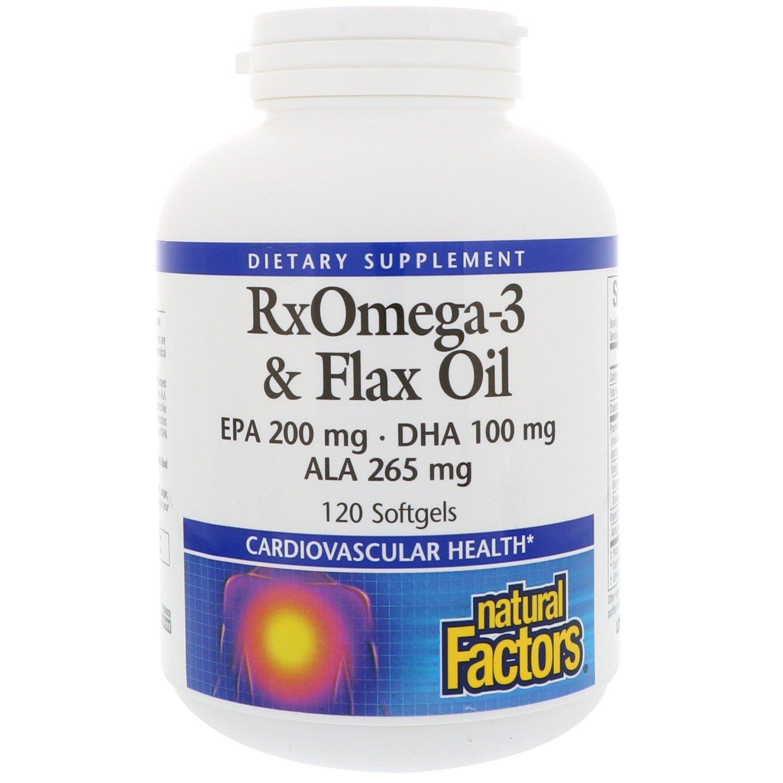 Natural Factors, RxOmega-3 и льняное масло, 120 Softgels