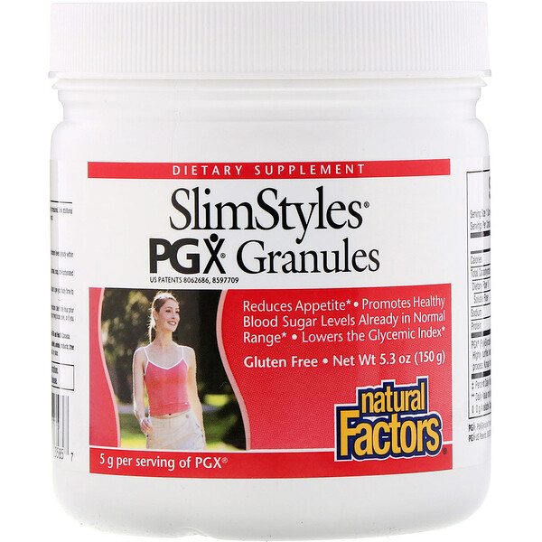 Natural Factors, SlimStyles, gránulos de PGX, sin sabor, 5,3 oz (150 g)