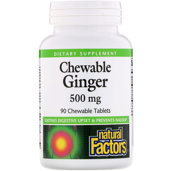 Natural Factors, Chewable Ginger, 500 mg, 90 Chewable Tablets (Discontinued Item)
