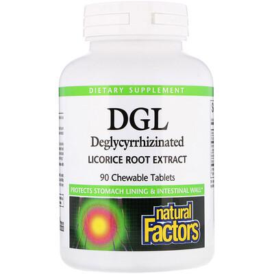 Natural Factors DGL, Deglycyrrhizinated Licorice Root Extract, 90 жевательных таблеток