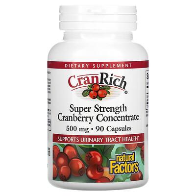 Natural Factors CranRich, Super Strength, концентрат клюквы, 500 мг, 90 капсул