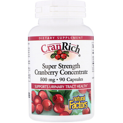 CranRich, Super Strength, концентрат клюквы, 500 мг, 90 капсул