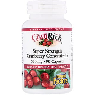 Natural Factors, CranRich, concentré de canneberge super fort, 500 mg, 90 capsules