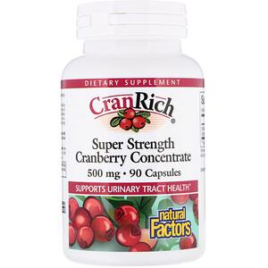 Натурал Факторс, CranRich, Super Strength, Cranberry Concentrate, 500 mg, 90 Capsules отзывы покупателей