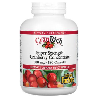 Natural Factors CranRich, суперсила, концентрат клюквы, 500 мг, 180 капсул