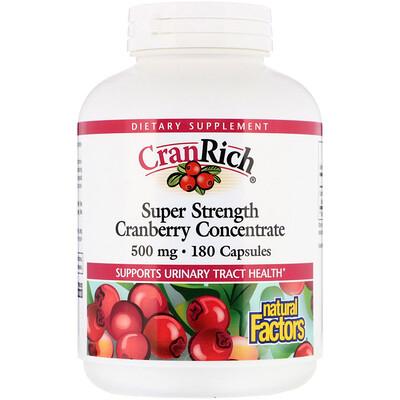 CranRich, суперсила, концентрат клюквы, 500 мг, 180 капсул