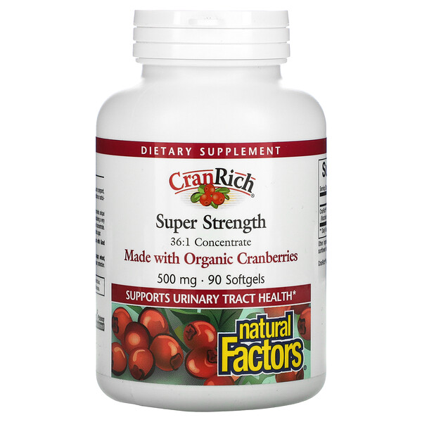 CranRich, Super Strength, Cranberry Concentrate, 500 mg, 90 Softgels