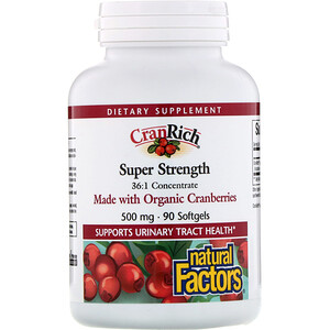 Натурал Факторс, CranRich, Super Strength, Cranberry Concentrate, 500 mg, 90 Softgels отзывы покупателей