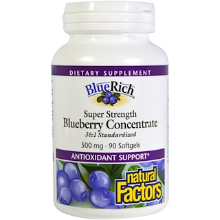 Natural Factors, BlueRich, Super Strength, Blueberry Concentrate, 500 mg, 90 Softgels
