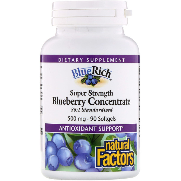 Natural Factors, BlueRich, super-stark, Blaubeerkonzentrat, 500 mg, 90 Softgelkapseln