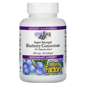 Натурал Факторс, BlueRich, Super Strength, Blueberry Concentrate, 500 mg, 90 Softgels отзывы покупателей