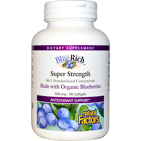 Natural Factors, BlueRich, Organic Blueberry 36:1 Concentrate, 500 mg, 90 Softgels (Discontinued Item)