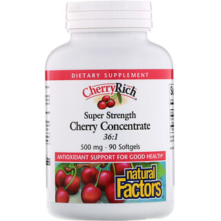 Natural Factors, CherryRich, concentrado de cereza super fuerte, 500 mg, 90 cápsulas blandas