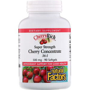 Натурал Факторс, CherryRich, Super Strength Cherry Concentrate, 500 mg, 90 Softgels отзывы покупателей