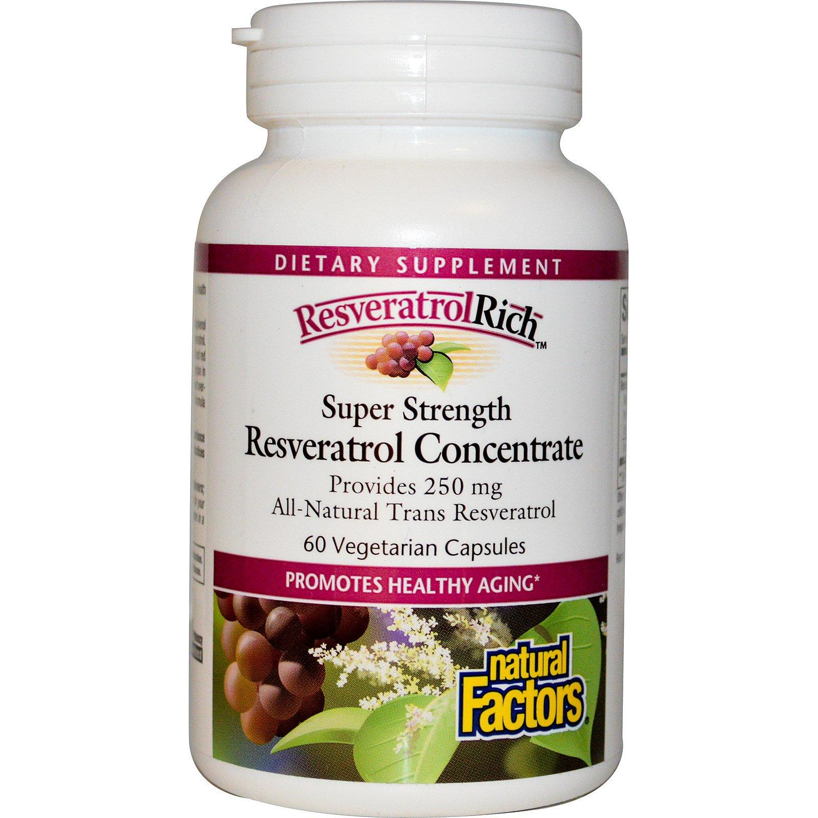 Natural Factors, ResveratrolRich, сверхсильный концентрат ресвератрола, 60 капсул на растительной основе