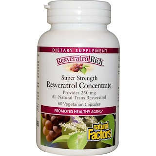 Natural Factors, ResveratrolRich، قوة خارقة، ريسڤيراترول مركز، 60 كبسولة نباتية