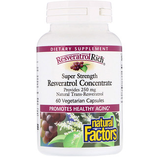 Natural Factors, ResveratrolRich(レスベラトロールリッチ)、スーパー濃縮、レスベラトロールコンセントレート、ベジカプセル60粒