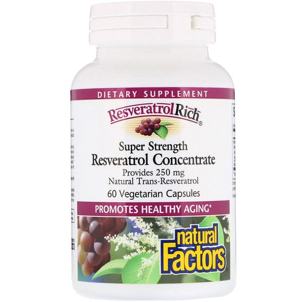 Natural Factors, ResveratrolRich, Super Strength, Resveratrol Concentrate, 60 Cápsulas Vegetales