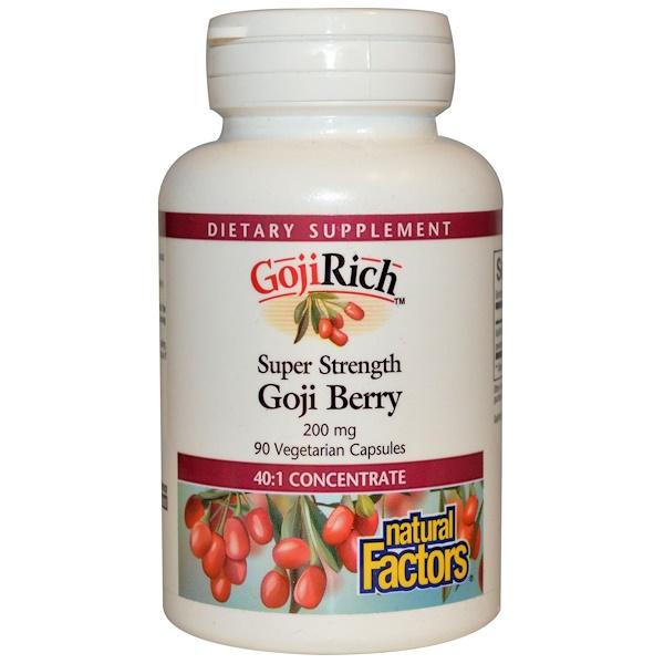 Natural Factors, GojiRich, Super Strength Goji Berry, 200 mg, 90 Veggie Caps (Discontinued Item)
