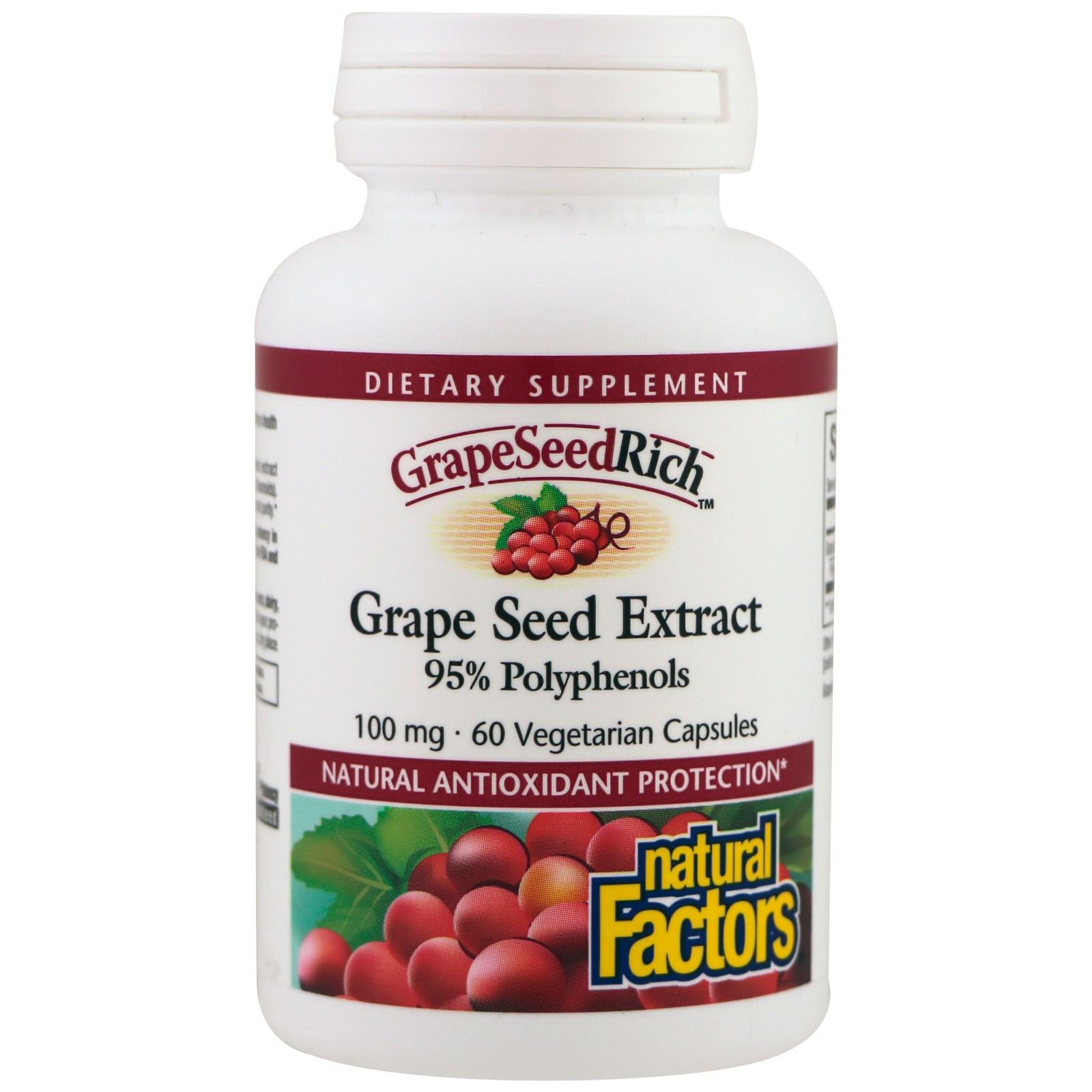 Natural Factors, Экстракт виноградной косточки, 95% полифенолов, 100 мг, 60 растительных капсул