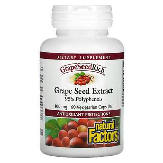 Natural Factors, Extrato de Semente de Uva, 100 mg, 60 Cápsulas Vegetarianas