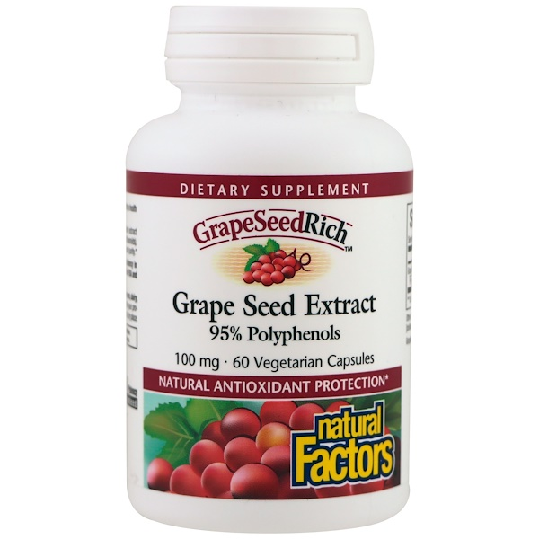 Natural Factors, Grape Seed Extract, 95% Polyphenols, 100 mg, 60 Vetegarian Capsules