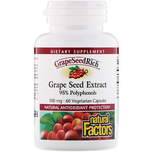 Натурал Факторс, Grape Seed Extract, 95% Polyphenols, 100 mg, 60 Vetegarian Capsules отзывы покупателей