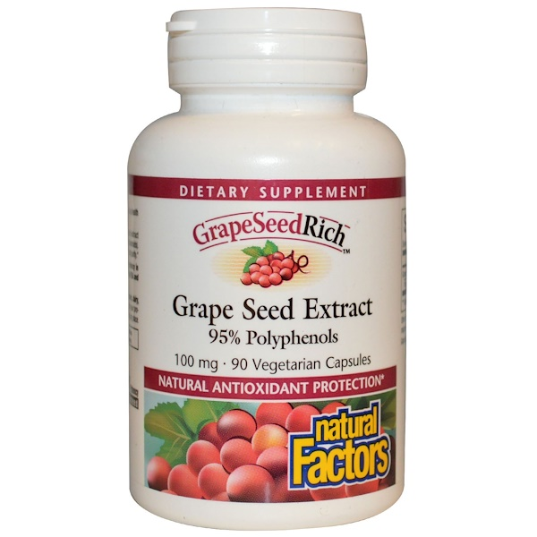 Natural Factors, GrapeSeedRich, Grape Seed Extract, 100 mg, 90 Veggie Caps