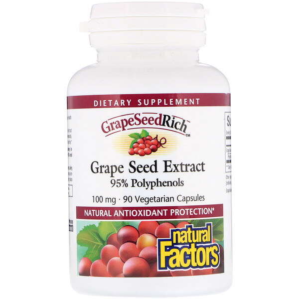 Natural Factors, GrapeSeedRich, Traubenkern Extrakt, 100 mg, 90 vegetarische Kapseln
