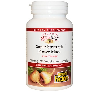 Natural Factors, Organic MacaRich, Super Strength Power Maca, with Ginseng, 500 mg, 90 Veggie Caps