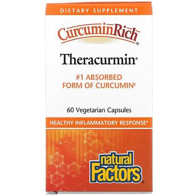 Natural Factors CurcuminRich, Theracurmin, куркумин, 60вегетарианских капсул