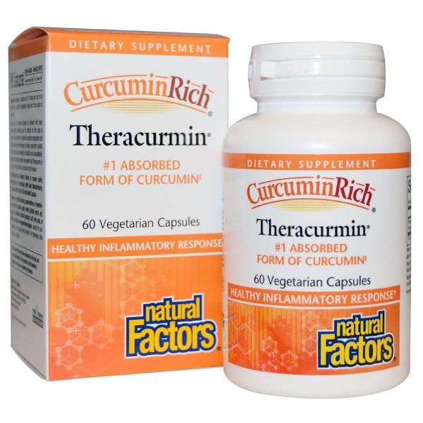 Natural Factors, CurcuminRich, Theracurmin, 60 Cápsulas Vegetais