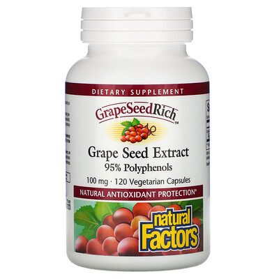 Natural Factors GrapeSeedRich, Grape Seed Extract, 100 mg, 120 Vegetarian Capsules