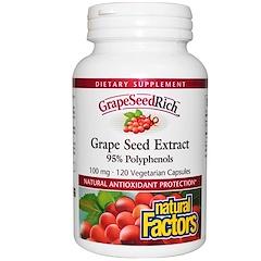 Natural Factors, GrapeSeedRich، مستخلص بذور العنب، 100 مغ ، 120 كبسولة نباتية