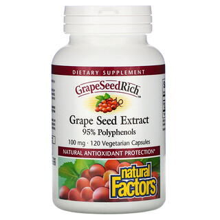 Natural Factors, GrapeSeedRich, Grape Seed Extract, 100 mg, 120 Vegetarian Capsules