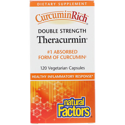 Natural Factors Препарат CurcuminRich, Double Strength Theracurmin, 120 вегетарианских капсул