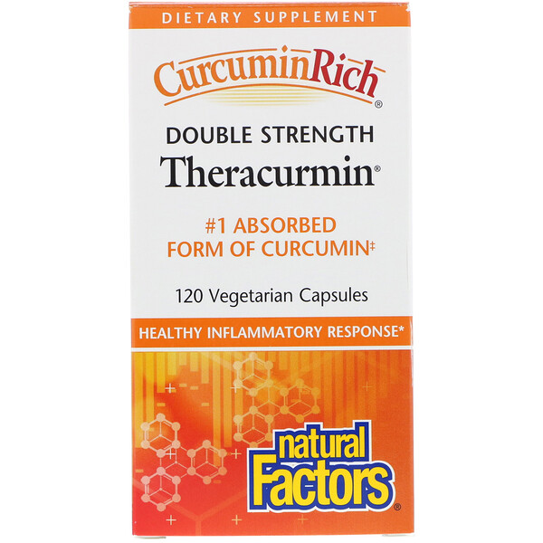 Natural Factors, CurcuminRich, Theracurmin de doble fuerza, 120 cápsulas vegetarianas