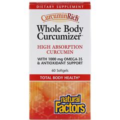 Natural Factors, CurcuminRichm, Optimisateur pour tout le corps, 60gélules souples