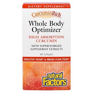 Natural Factors, CurcuminaRica, Mejorador del cuerpo entero, 60 cápsulas blandas
