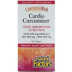 """Natural Factors, """"Куркуминовое богатство"""", пищевая добавка для оптимизации здоровья сердца, 60 капсул в растительной оболочке"""