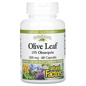 Natural Factors, Herbal Factors, Olive Leaf, 500 mg, 60 Capsules