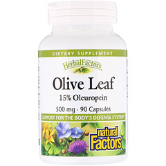 Natural Factors, Olive Leaf, 500 mg, 90 Capsules