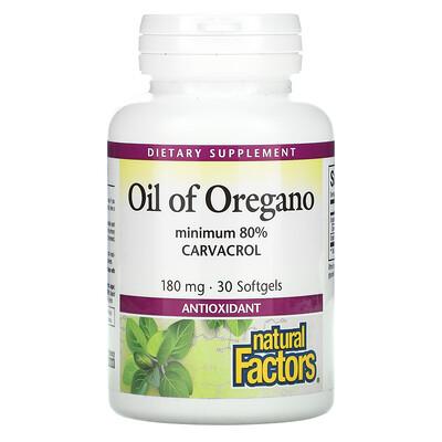 Купить Natural Factors Oil Of Oregano, 180 mg, 30 Softgels