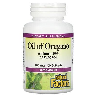 Natural Factors Oil Of Oregano, 180 mg, 60 Softgels