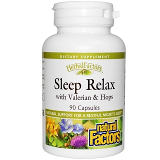 Natural Factors, Sleep Relax, with Valerian & Hops, 90 Capsules